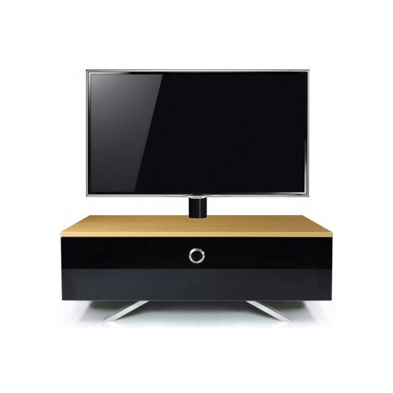 MDA Designs Cubic Hybrid Complete Oak and Black Cantilever TV Stand