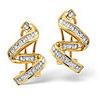 Photo of Twirl Earrings 0.28CT Diamond 9K Yellow Gold Jewellery Woman