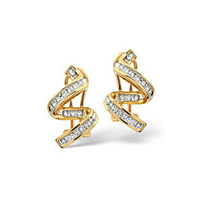 Photo of Twirl Earrings 0.28CT Diamond 9K Yellow Gold Jewellery Woman