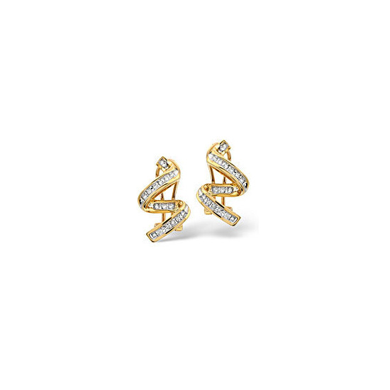 Twirl Earrings 0.28CT Diamond 9K Yellow Gold