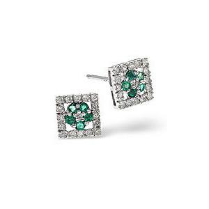 Photo of Emerald & 0.24CT Diamond Earrings 9K Yellow Gold Jewellery Woman