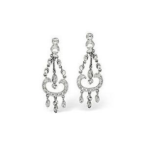 Photo of Chandelier Earrings 0.37CT Diamond 9K White Gold Jewellery Woman