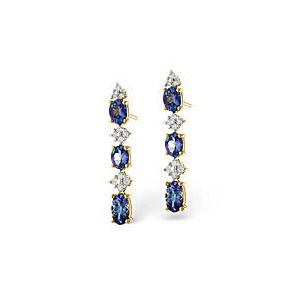 Photo of Tanzanite & 0.13CT Diamond Earrings 9K Yellow Gold Jewellery Woman