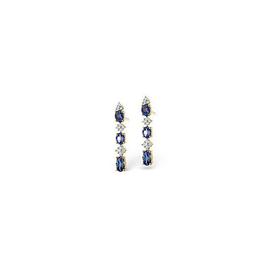 Tanzanite & 0.13CT Diamond Earrings 9K Yellow Gold