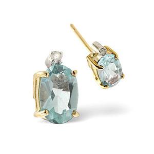 Photo of Aqua Marine & 0.02CT Diamond Earrings 9K Yellow Gold Jewellery Woman