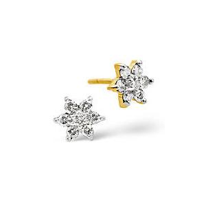 Photo of Cluster Earrings 0.30CT Diamond 9K Yellow Gold Jewellery Woman
