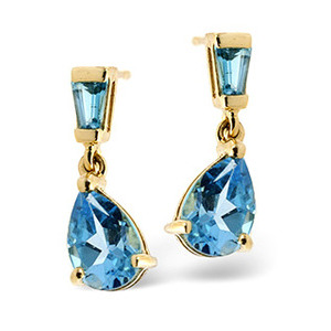 Photo of Small Drop Earrings  Blue Topaz 9K Yellow Gold Jewellery Woman