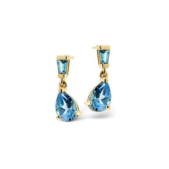 Small Drop Earrings  Blue Topaz 9K Yellow Gold