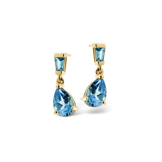 Small Drop Earrings  Blue Topaz 9K Yellow Gold