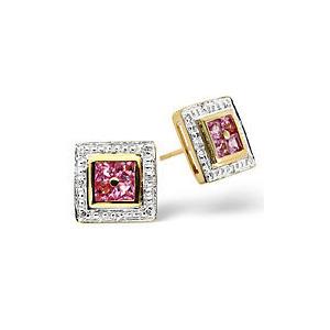 Photo of The Diamond Store Pink Sapphire 0 05CT Diamond Earrings 9K Yellow Gold Jewellery Woman