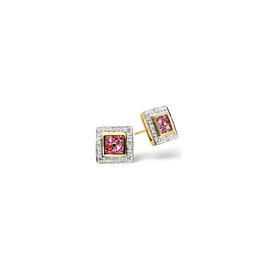 The Diamond Store Pink Sapphire 0 05CT Diamond Earrings 9K Yellow Gold