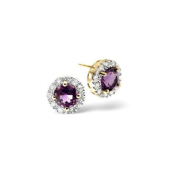 Amethyst & 0.17CT Diamond Earrings 9K Yellow Gold