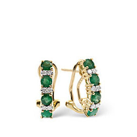 Emerald & 0.16CT Diamond Earrings 9K Yellow Gold Reviews
