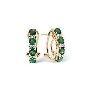 Photo of Emerald & 0.16CT Diamond Earrings 9K Yellow Gold Jewellery Woman