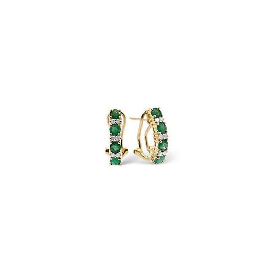 Emerald & 0.16CT Diamond Earrings 9K Yellow Gold
