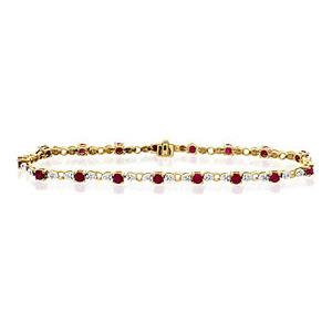 Photo of Ruby & 0.17CT Diamond Bracelet 9K Yellow Gold Jewellery Woman