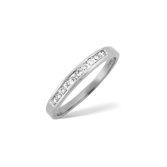 1/2 Eternity Ring 0.15CT Diamond 18K White Gold