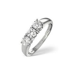 Photo of 3 Stones Ring 0.50CT Diamond 18K White Gold Jewellery Woman