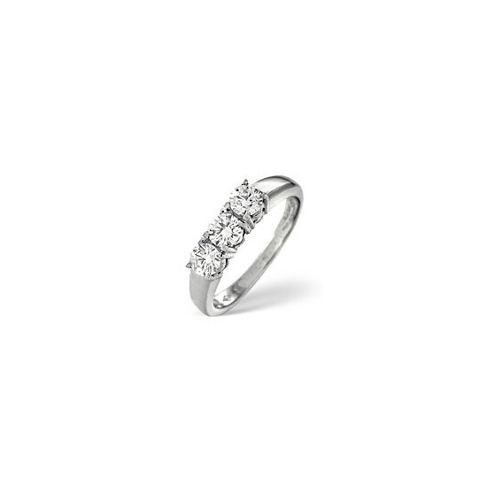 3 Stones Ring 0.50CT Diamond 18k White Gold