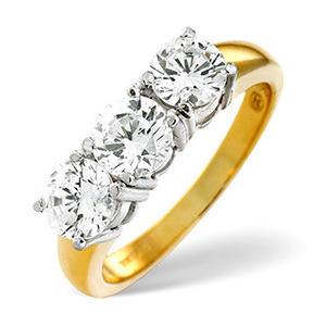 Photo of g/Vs 3 Stones Ring 1.00CT Diamond 18K Yellow Gold Jewellery Woman