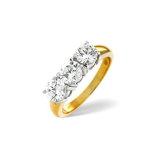 G/Vs 3 Stones Ring 1.00CT Diamond 18K Yellow Gold