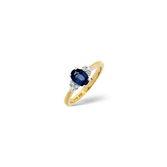 Sapphire & 0.12CT Diamond Ring 18K Yellow Gold