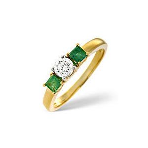 Photo of Emerald & 0.33CT Diamond Ring 18K Yellow Gold Jewellery Woman