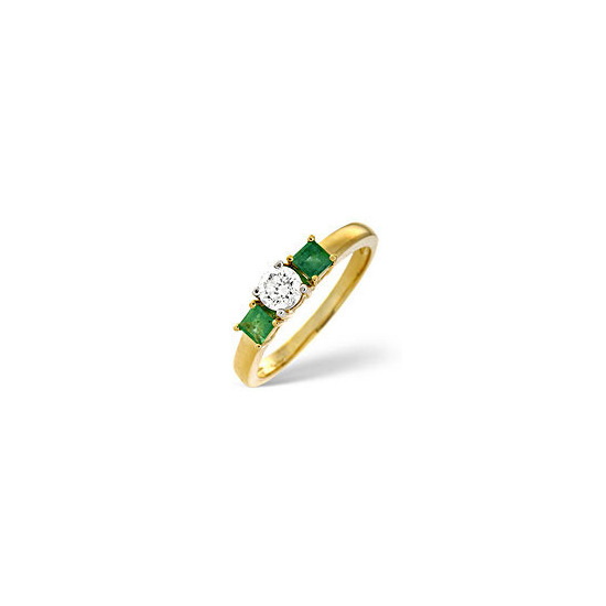 Emerald & 0.33CT Diamond Ring 18K Yellow Gold