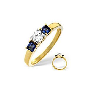 Photo of Blue Sapphire & 0.33CT Diamond Ring 18K Yellow Gold Jewellery Woman