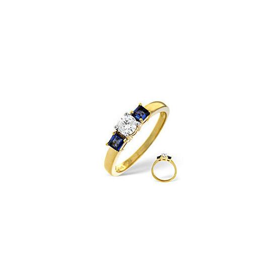 Blue Sapphire & 0.33CT Diamond Ring 18K Yellow Gold