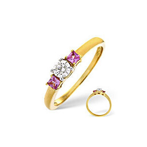 Photo of Pink Sapphire & 0.25CT Diamond Ring 18K Yellow Gold Jewellery Woman