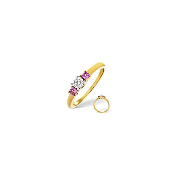 Pink Sapphire & 0.25CT Diamond Ring 18K Yellow Gold