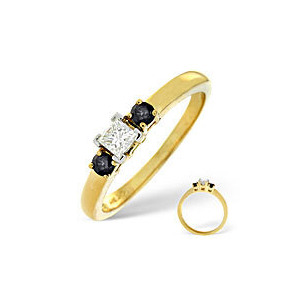 Photo of Blue Sapphire & 0.15CT Diamond Ring 18K Yellow Gold Jewellery Woman