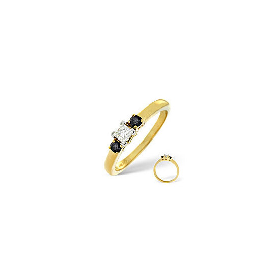 Blue Sapphire & 0.15CT Diamond Ring 18K Yellow Gold