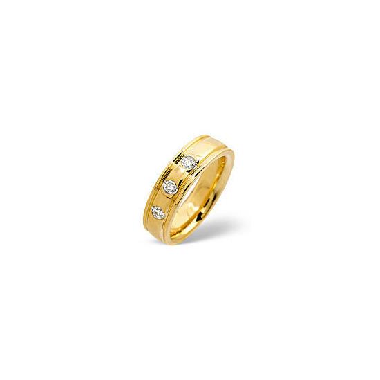 H/Si Wedding Ring 0.20CT Diamond 18K Yellow Gold