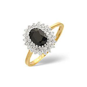 Photo of Sapphire & 0.30CT Diamond Ring 9K Yellow Gold Jewellery Woman