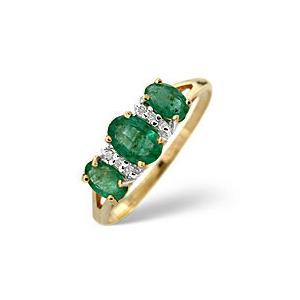Photo of Emerald & 0.03CT Diamond Ring 9K Yellow Gold Jewellery Woman
