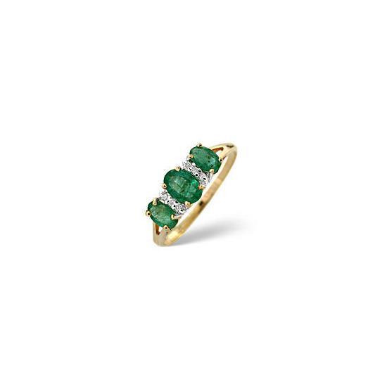 Emerald & 0.03CT Diamond Ring 9K Yellow Gold
