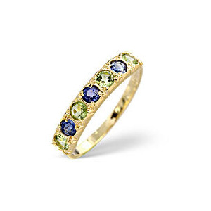 Photo of Kanchan Sapphire &  Peridot Ring 9K Yellow Gold Jewellery Woman