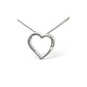 Photo of Heart Pendant 0.03CT Diamond 9K White Gold Jewellery Woman