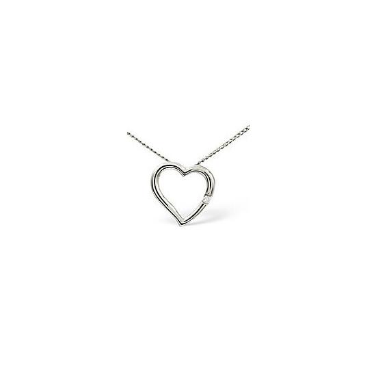 Heart Pendant 0.03CT Diamond 9K White Gold