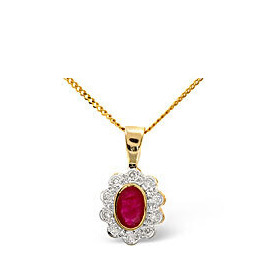 Ruby & 0.10CT Diamond Pendant 9K Yellow Gold Reviews