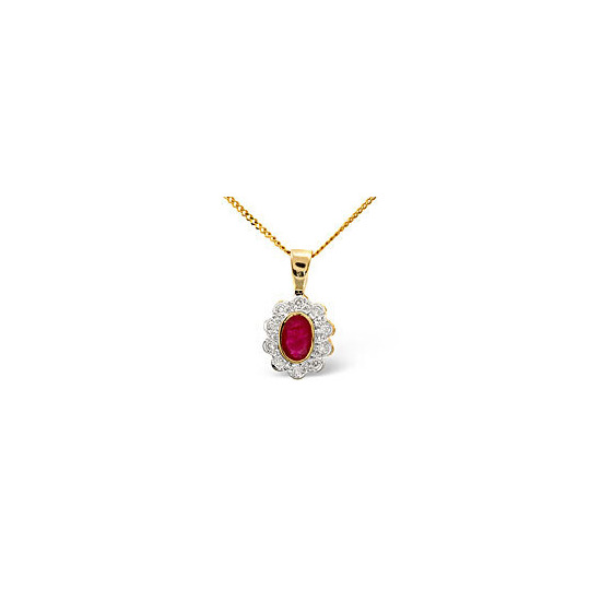Ruby & 0.10CT Diamond Pendant 9K Yellow Gold