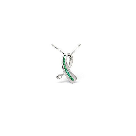 Emerald & 0.02CT Diamond Pendant 9K White Gold