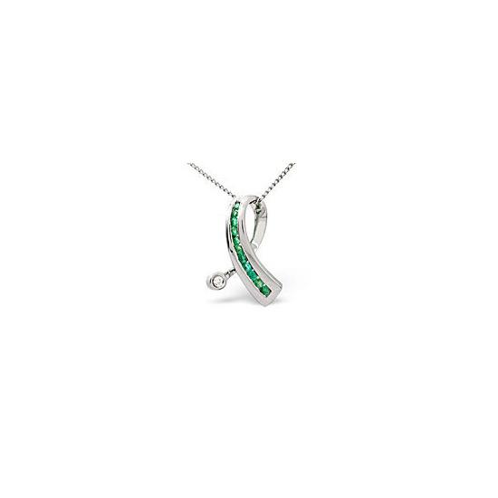 Emerald & 0.02CT Diamond Pendant 9K White Gold