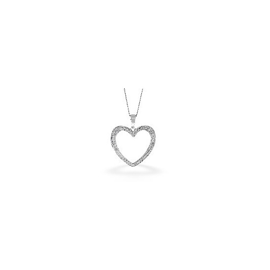 The Diamond Store Heart Pendant 0 32CT Diamond 9K White Gold