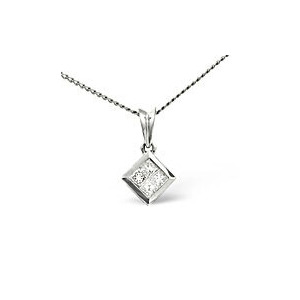 Photo of Solitaire Pendant 0.20CT Diamond 9K White Gold Jewellery Woman
