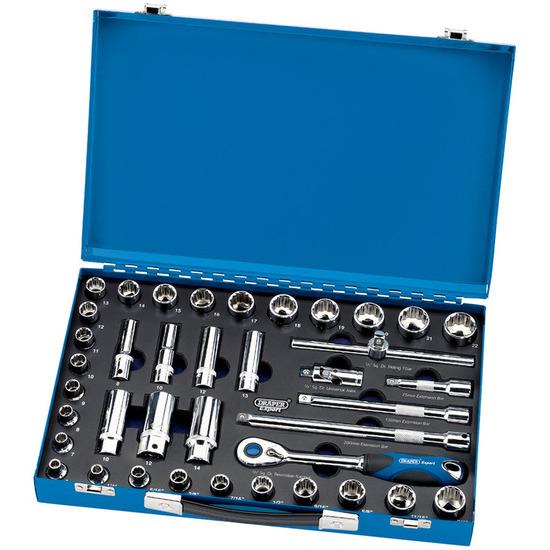 Draper 43592 (D39AM/MC) 39 Pce 3/8in Sq Dr Mm/af Combined 12pt Socket Set