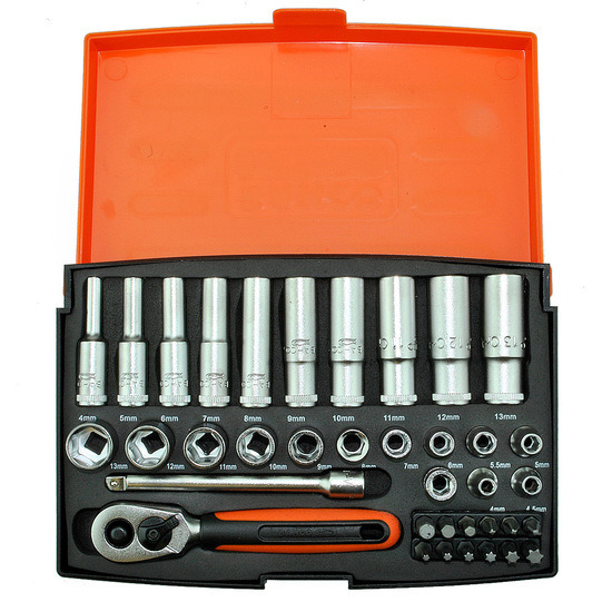 Bahco SL25L 37 Piece Socket and Mechanical Set MM 1/4in Dynamic Drive