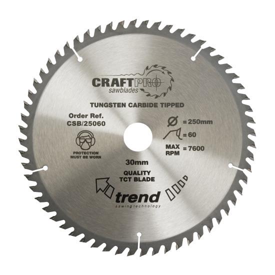 Trend CSB/25060 Craft Saw Blade 250mm X 60 Teeth X 30mm